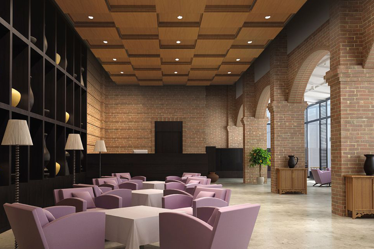 Woodgrain architectural ceiling